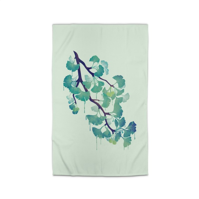 O Ginkgo (in Green) Home Rug by Littleclyde Illustration