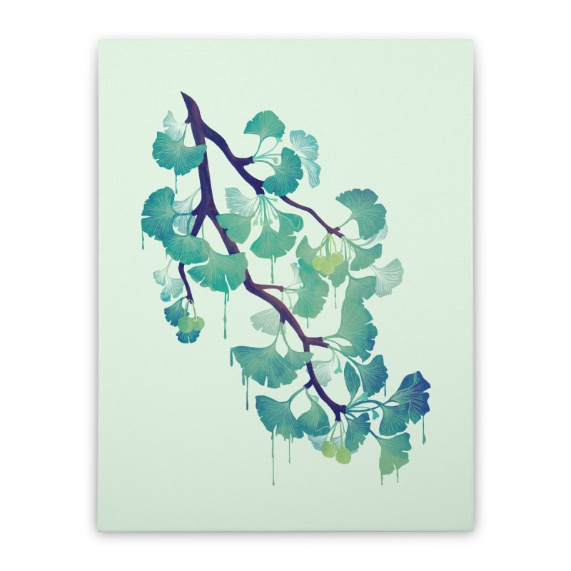 O Ginkgo (in Green) Home Stretched Canvas by Littleclyde Illustration