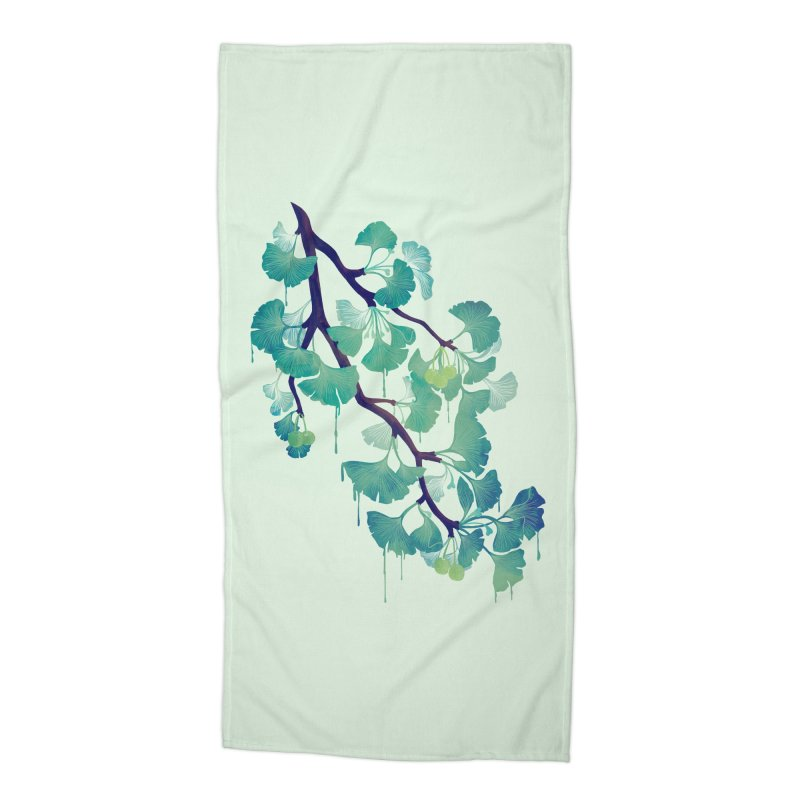 O Ginkgo (in Green) Accessories Beach Towel by Littleclyde Illustration