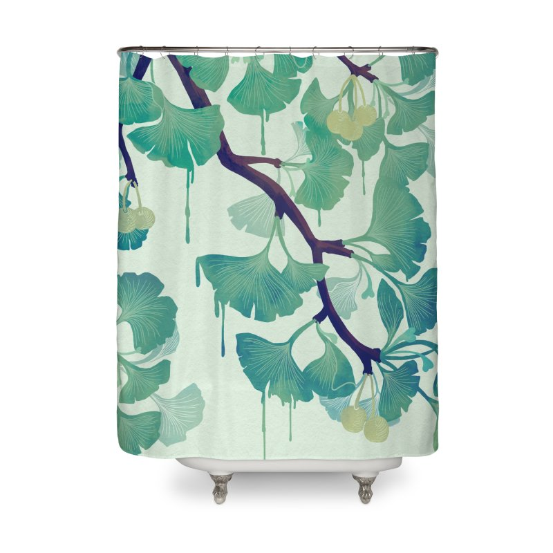 O Ginkgo (in Green) Home Shower Curtain by Littleclyde Illustration