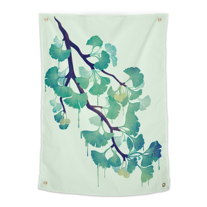 O Ginkgo (in Green) Home Tapestry by Littleclyde Illustration