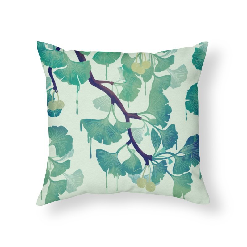 O Ginkgo (in Green) Home Throw Pillow by Littleclyde Illustration