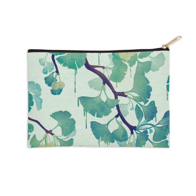 O Ginkgo (in Green) Accessories Zip Pouch by Littleclyde Illustration