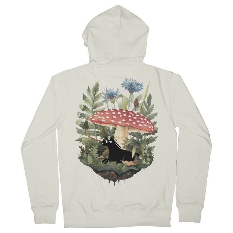 Tiny Unicorn Men's French Terry Zip-Up Hoody by Littleclyde Illustration