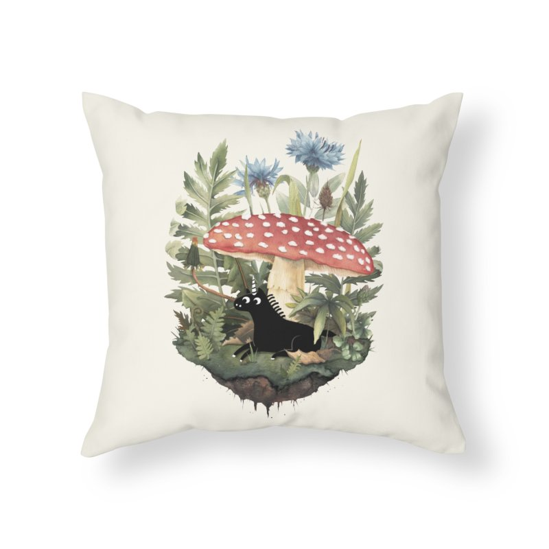 Tiny Unicorn Home Throw Pillow by Littleclyde Illustration