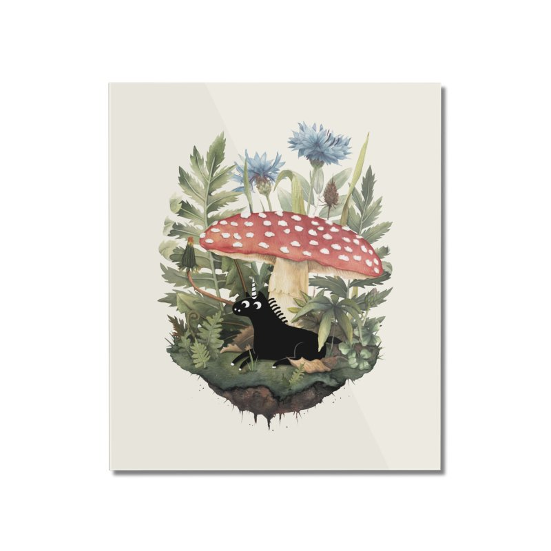 Tiny Unicorn Home Mounted Acrylic Print by Littleclyde Illustration