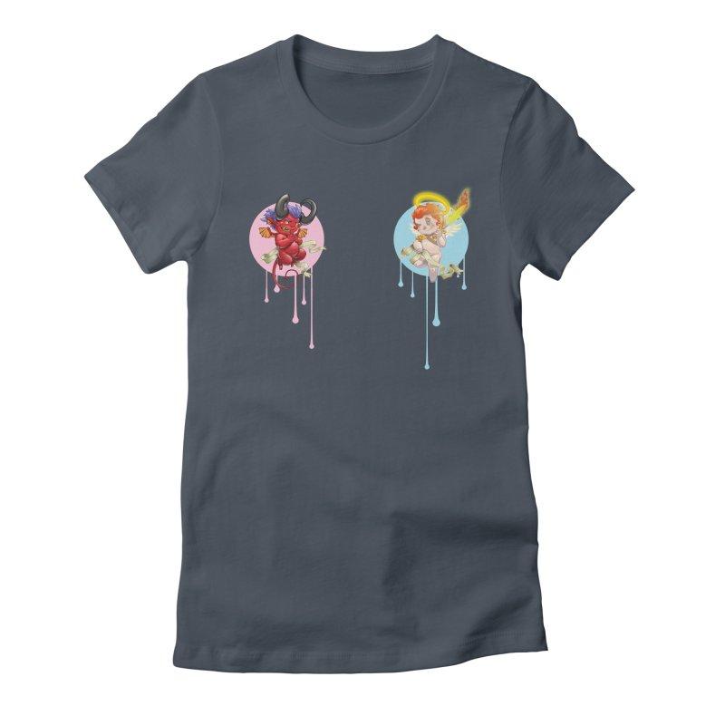 Dueling Conscience Women's T-Shirt by Little Ninja Studios