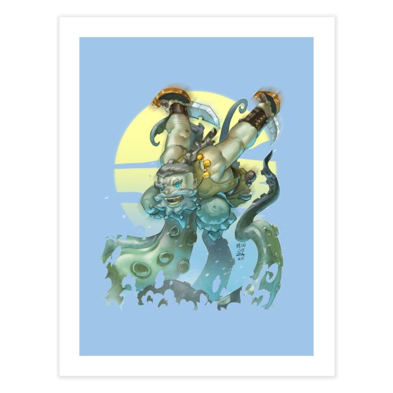 Vs The Kraken Home Fine Art Print by Little Ninja Studios