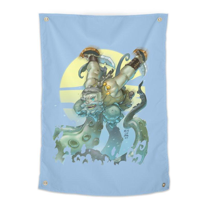 Vs The Kraken Home Tapestry by Little Ninja Studios