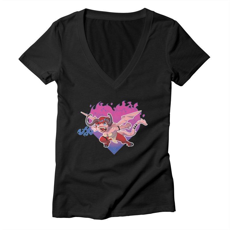 Heart Burn Women's V-Neck by Little Ninja Studios