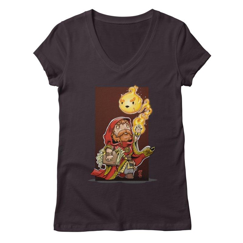 Pyromancer Women's Regular V-Neck by Little Ninja Studios, LLC