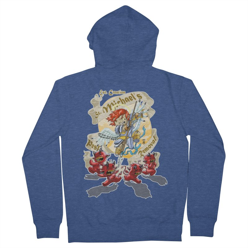 St. Michael's Pest Removal Men's French Terry Zip-Up Hoody by Little Ninja Studios, LLC