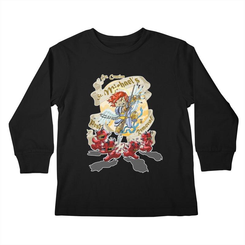 St. Michael's Pest Removal Kids Longsleeve T-Shirt by Little Ninja Studios, LLC