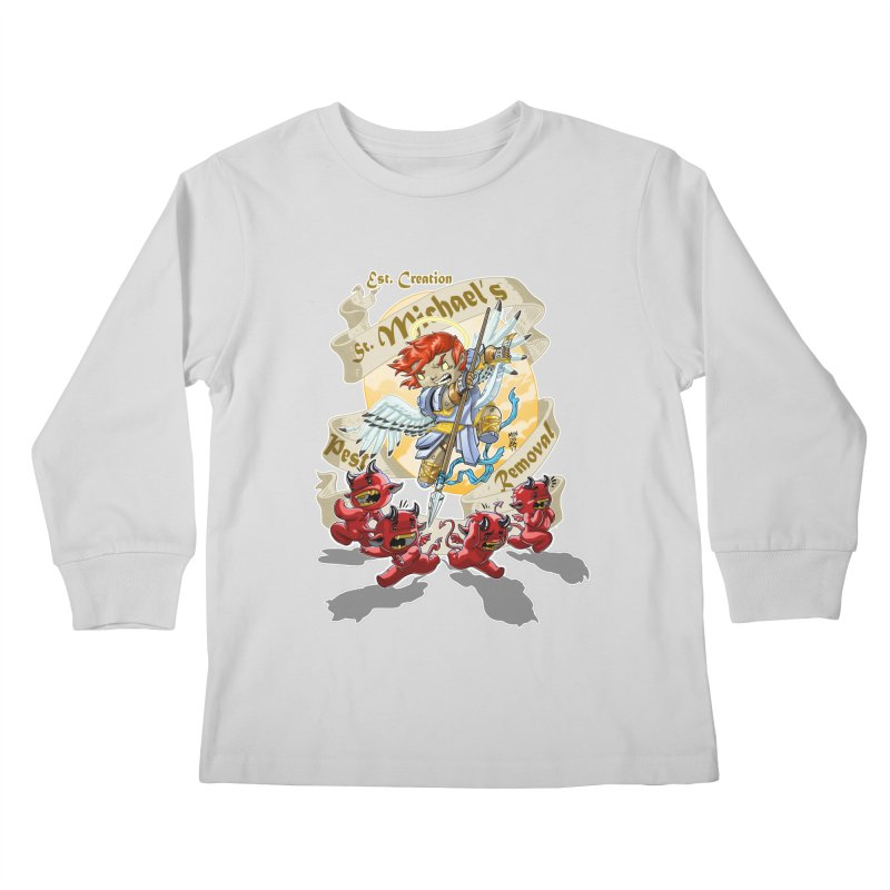 St. Michael's Pest Removal Kids Longsleeve T-Shirt by Little Ninja Studios
