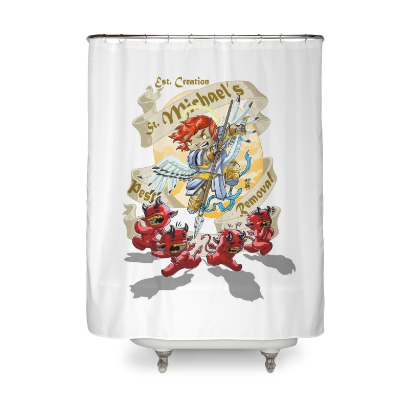 St. Michael's Pest Removal Home Shower Curtain by Little Ninja Studios, LLC