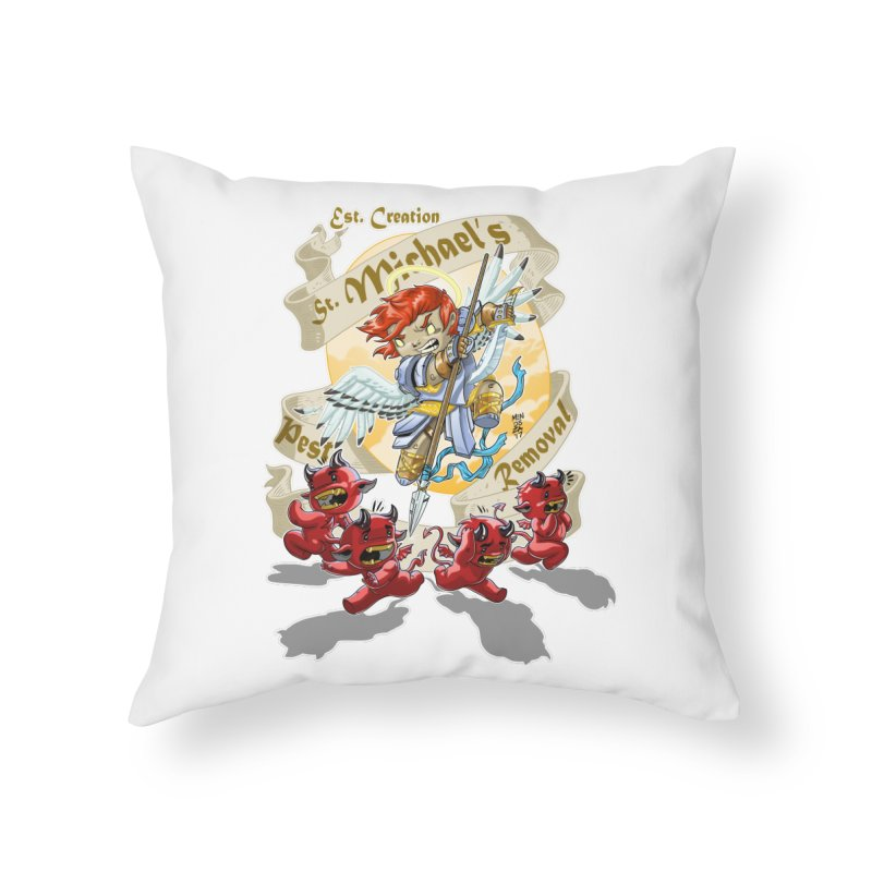 St. Michael's Pest Removal Home Throw Pillow by Little Ninja Studios