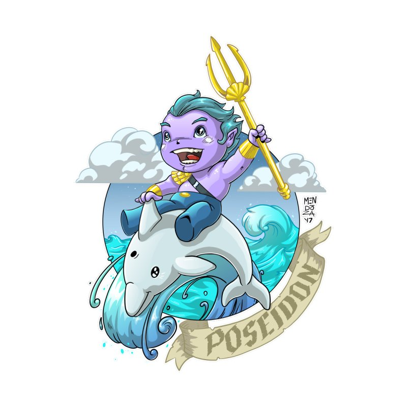 Poseidon! WEEEEEEE!!!! Home Fine Art Print by Little Ninja Studios