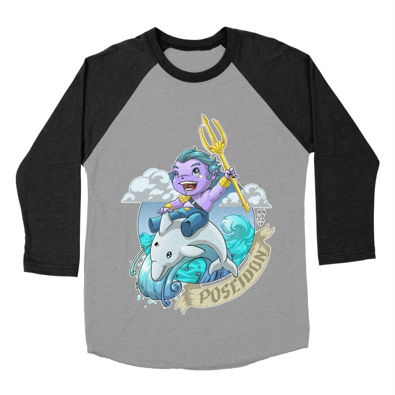 Poseidon! WEEEEEEE!!!! Men's Baseball Triblend Longsleeve T-Shirt by Little Ninja Studios, LLC