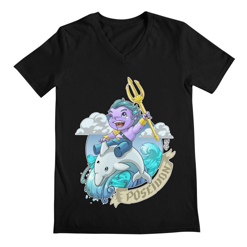 Poseidon! WEEEEEEE!!!! Men's Regular V-Neck by Little Ninja Studios, LLC
