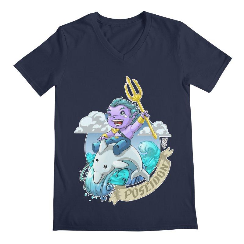 Poseidon! WEEEEEEE!!!! Men's Regular V-Neck by Little Ninja Studios