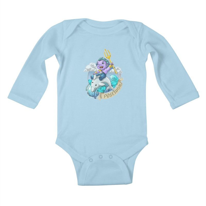 Poseidon! WEEEEEEE!!!! Kids Baby Longsleeve Bodysuit by Little Ninja Studios
