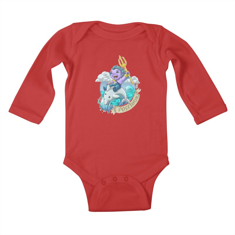 Poseidon! WEEEEEEE!!!! Kids Baby Longsleeve Bodysuit by Little Ninja Studios, LLC