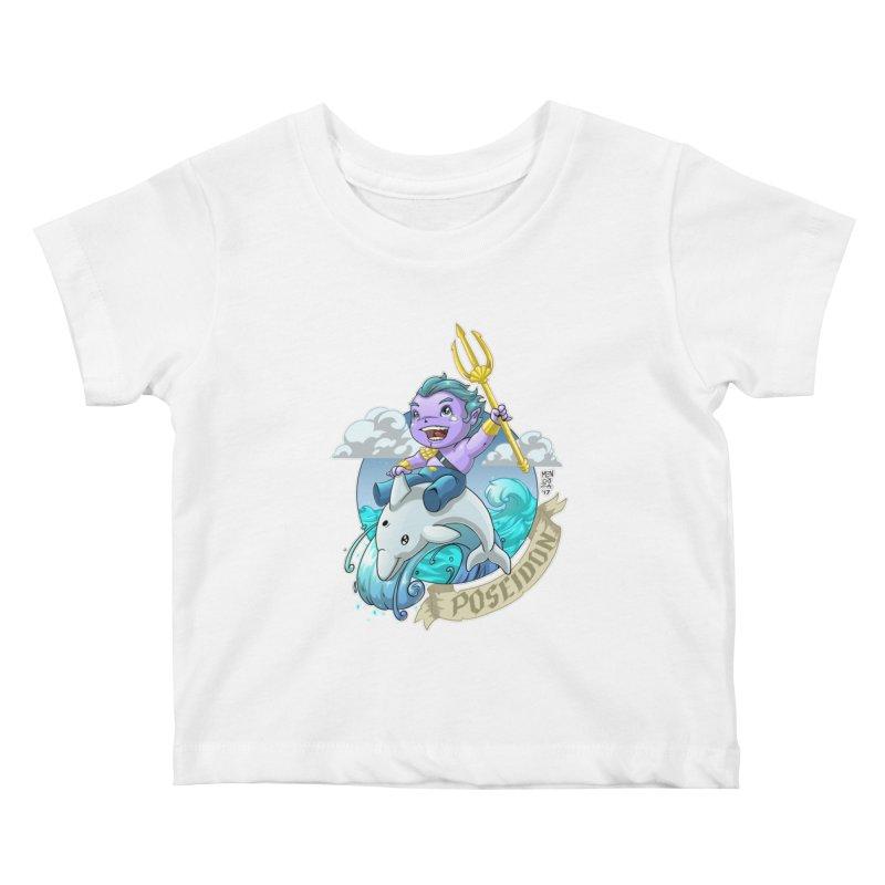 Poseidon! WEEEEEEE!!!! Kids Baby T-Shirt by Little Ninja Studios, LLC