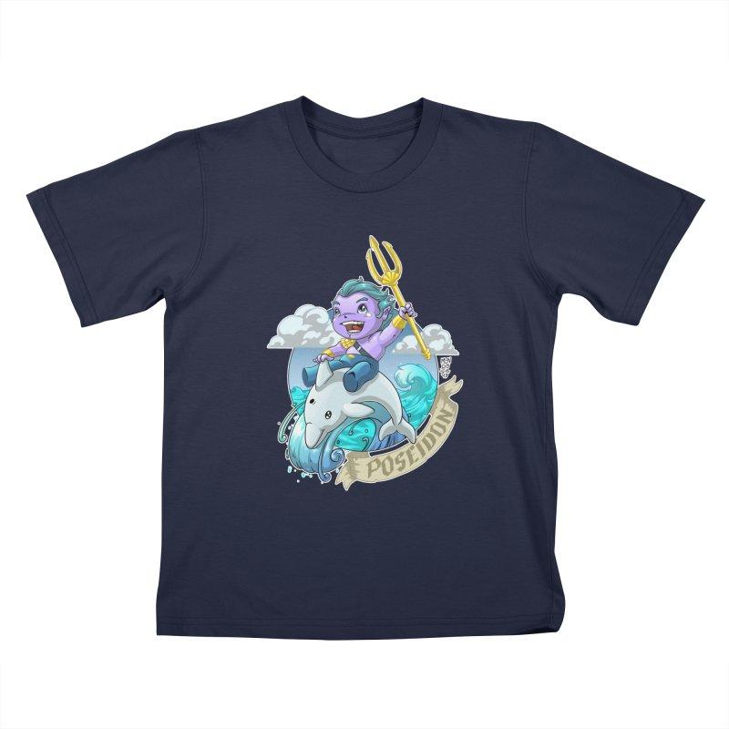Poseidon! WEEEEEEE!!!! Kids T-Shirt by Little Ninja Studios, LLC