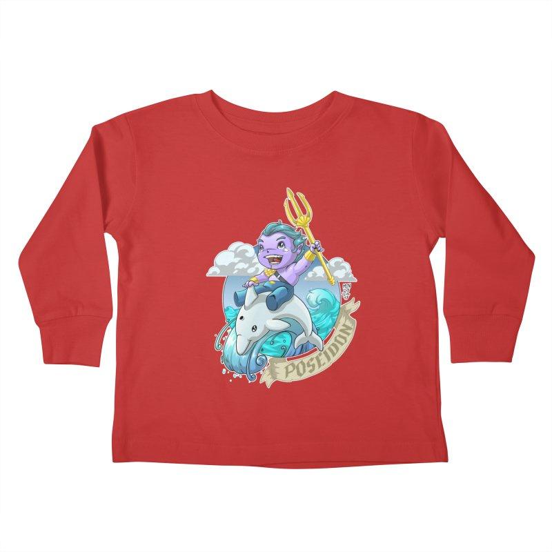 Poseidon! WEEEEEEE!!!! Kids Toddler Longsleeve T-Shirt by Little Ninja Studios, LLC