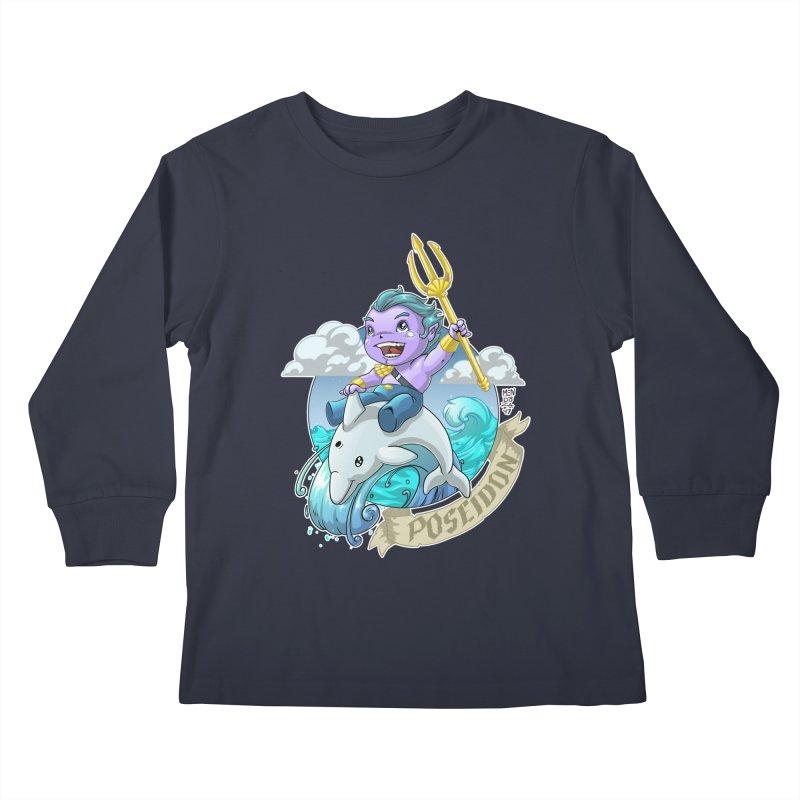 Poseidon! WEEEEEEE!!!! Kids Longsleeve T-Shirt by Little Ninja Studios