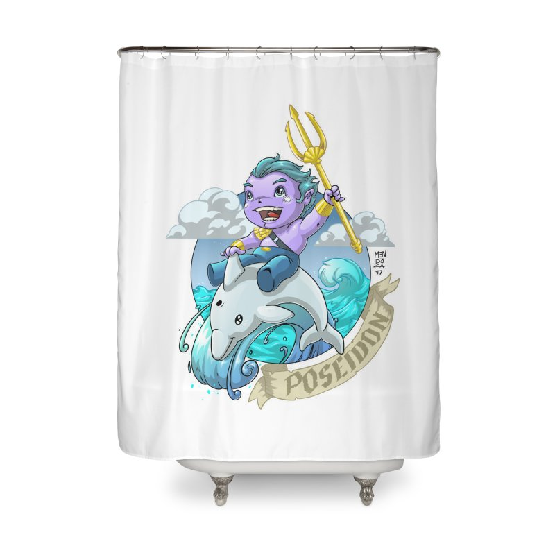 Poseidon! WEEEEEEE!!!! Home Shower Curtain by Little Ninja Studios