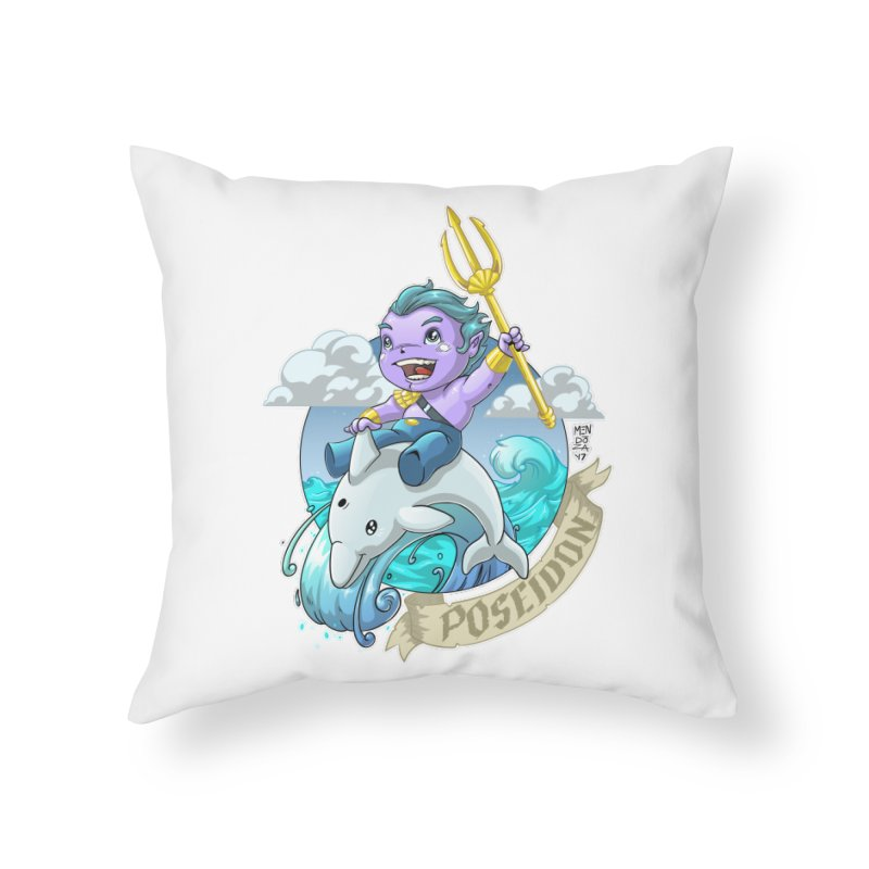 Poseidon! WEEEEEEE!!!! Home Throw Pillow by Little Ninja Studios