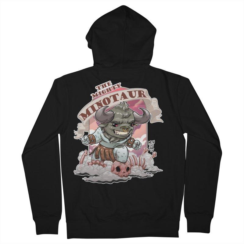 The Mighty Minotaur Men's French Terry Zip-Up Hoody by Little Ninja Studios, LLC