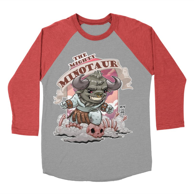 The Mighty Minotaur Men's Baseball Triblend Longsleeve T-Shirt by Little Ninja Studios, LLC