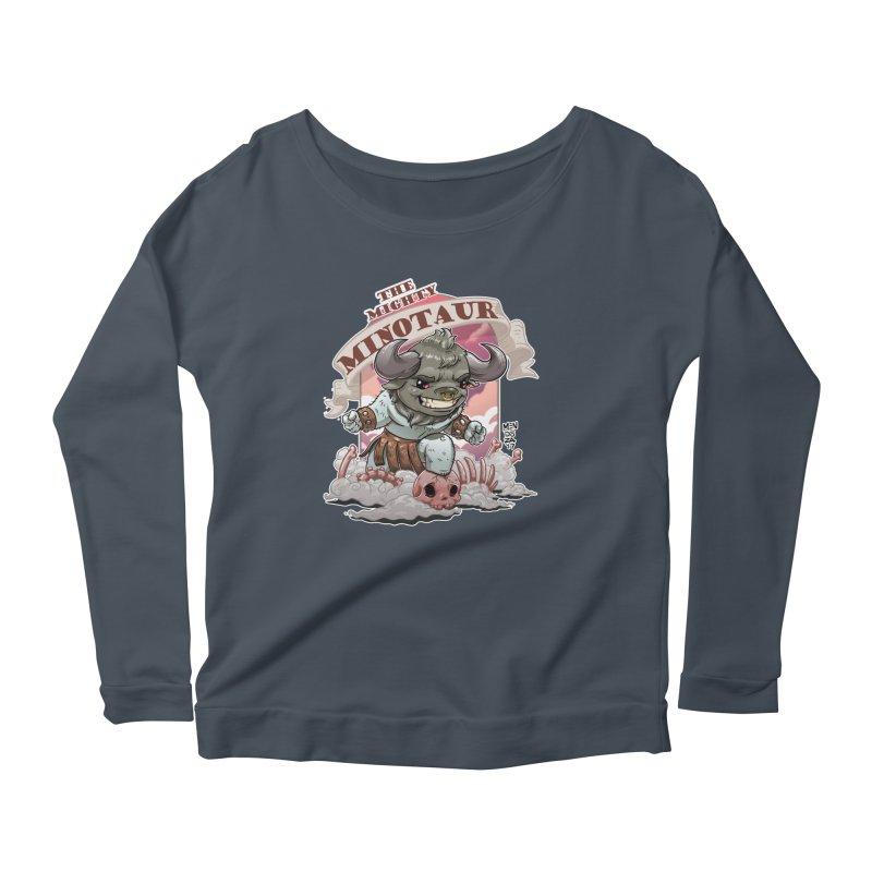 The Mighty Minotaur Women's Scoop Neck Longsleeve T-Shirt by Little Ninja Studios, LLC