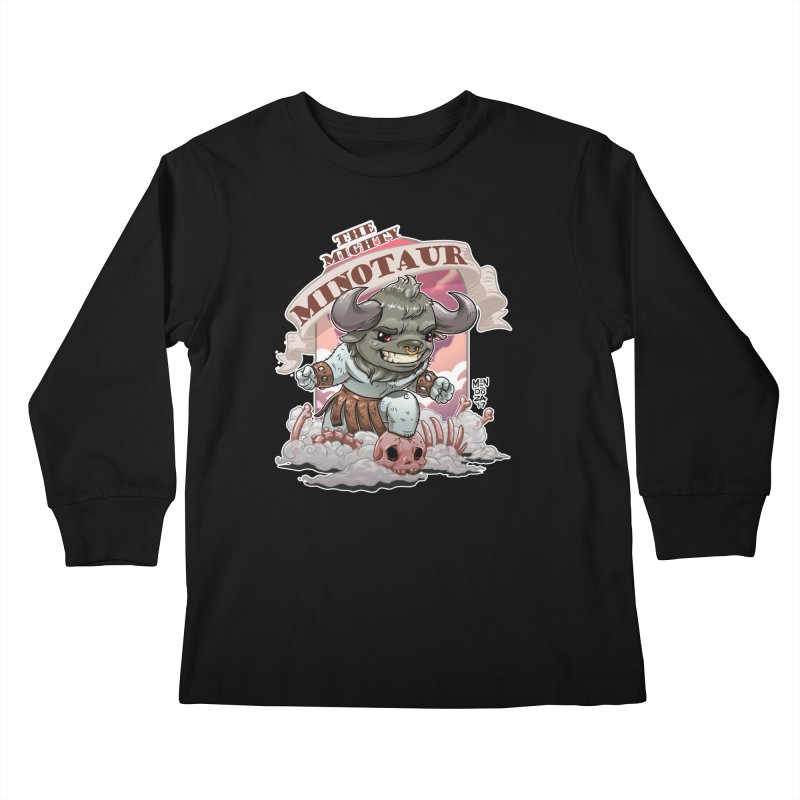 The Mighty Minotaur Kids Longsleeve T-Shirt by Little Ninja Studios, LLC