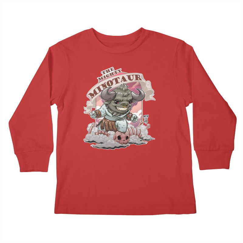 The Mighty Minotaur Kids Longsleeve T-Shirt by Little Ninja Studios