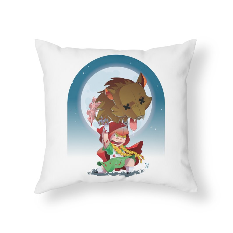 Lil' Red Home Throw Pillow by Little Ninja Studios