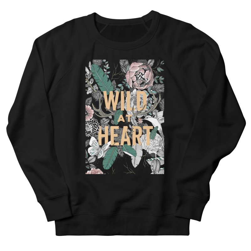 Wild at Heart - Color Men's French Terry Sweatshirt by littlepatterns by Maggie Enterrios