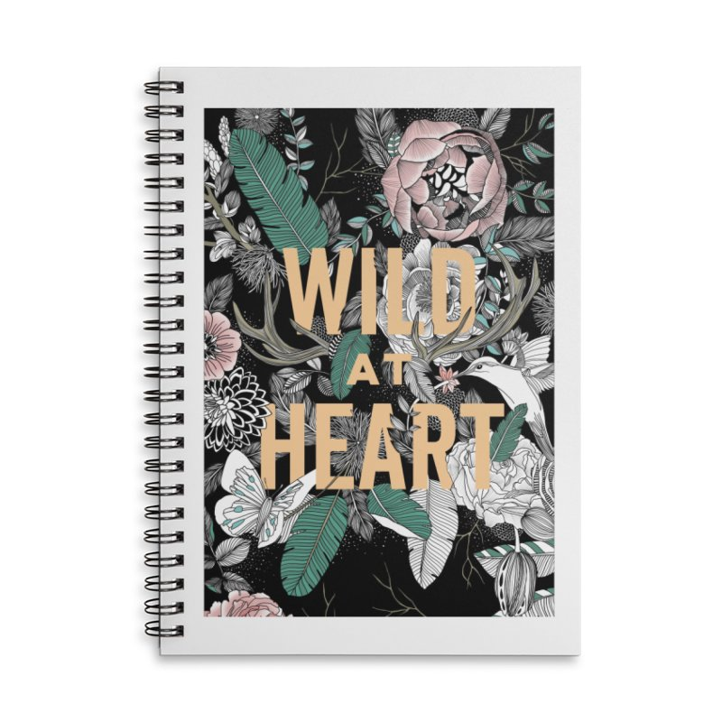 Wild at Heart - Color Accessories Lined Spiral Notebook by littlepatterns by Maggie Enterrios