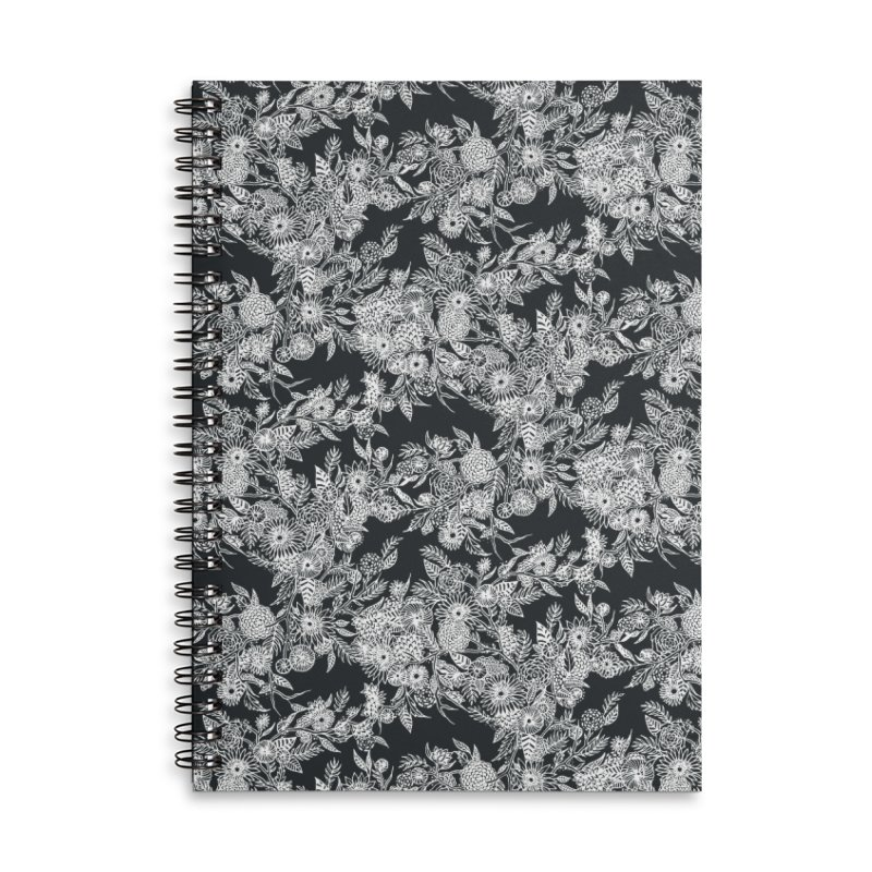 White Ink Whimsy Accessories Lined Spiral Notebook by littlepatterns by Maggie Enterrios