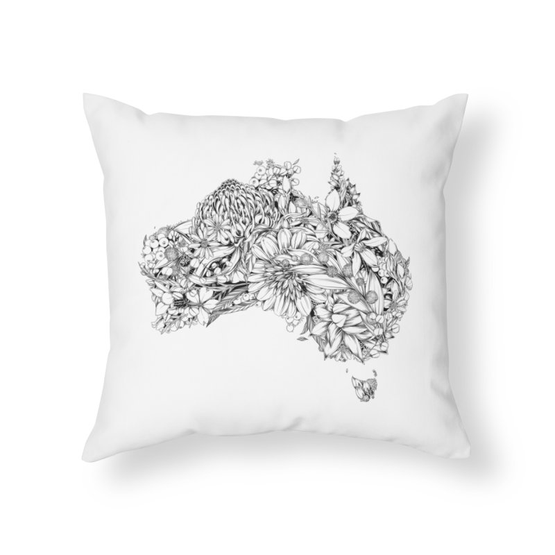 Australia Native Home Throw Pillow by littlepatterns by Maggie Enterrios