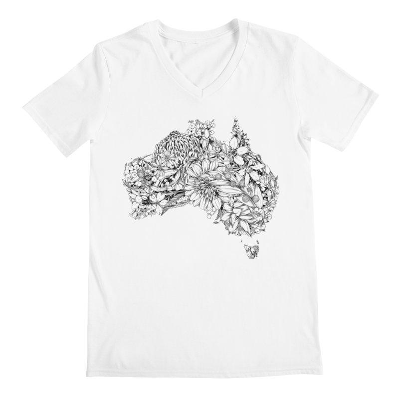 Australia Native Men's V-Neck by littlepatterns by Maggie Enterrios