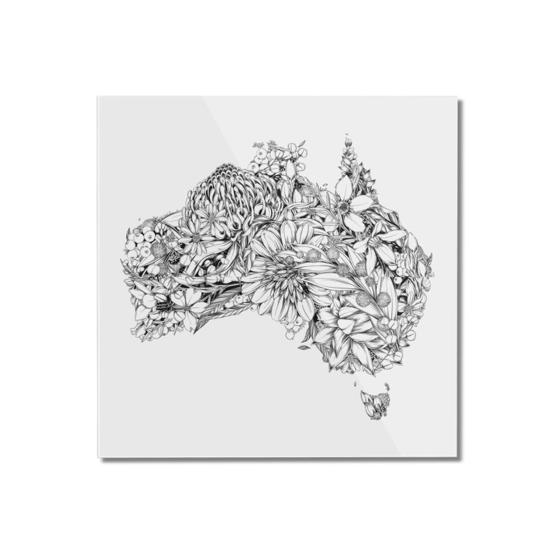Australia Native Home Mounted Acrylic Print by littlepatterns by Maggie Enterrios
