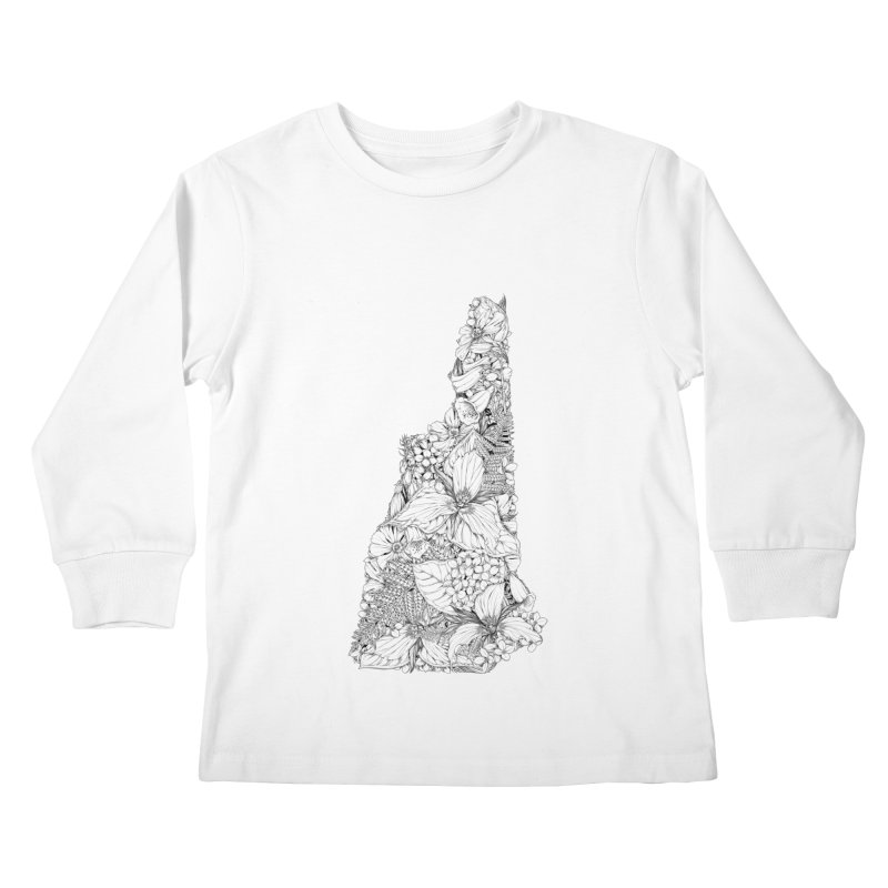 New Hampshire Native - Monochrome Kids Longsleeve T-Shirt by littlepatterns by Maggie Enterrios