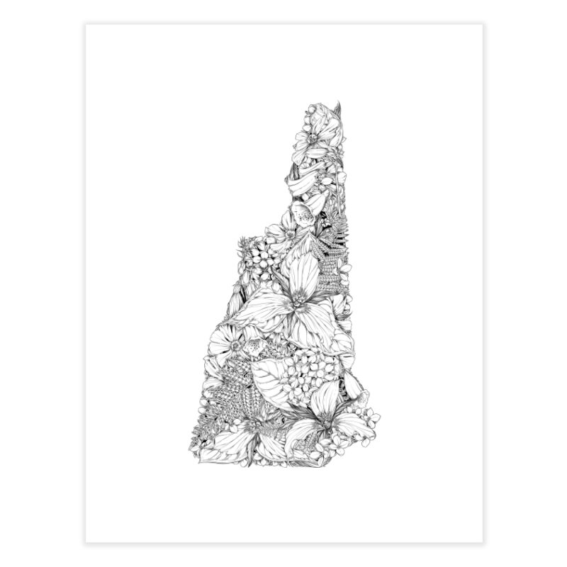 New Hampshire Native - Monochrome Home Fine Art Print by littlepatterns by Maggie Enterrios