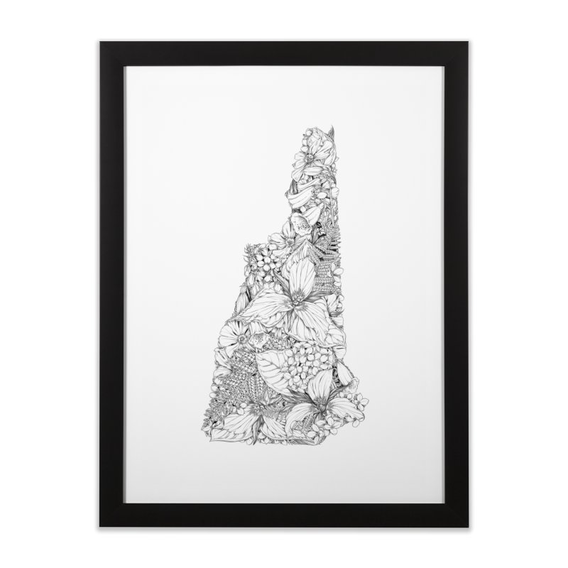 New Hampshire Native - Monochrome Home Framed Fine Art Print by littlepatterns by Maggie Enterrios