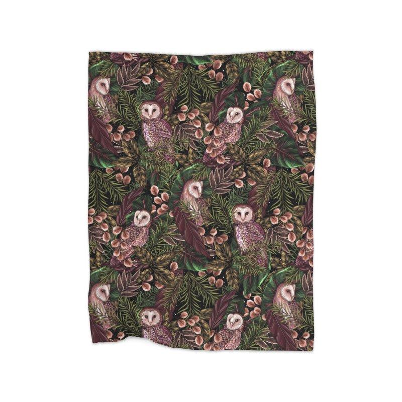 Owl Botanica Home Blanket by littlepatterns by Maggie Enterrios
