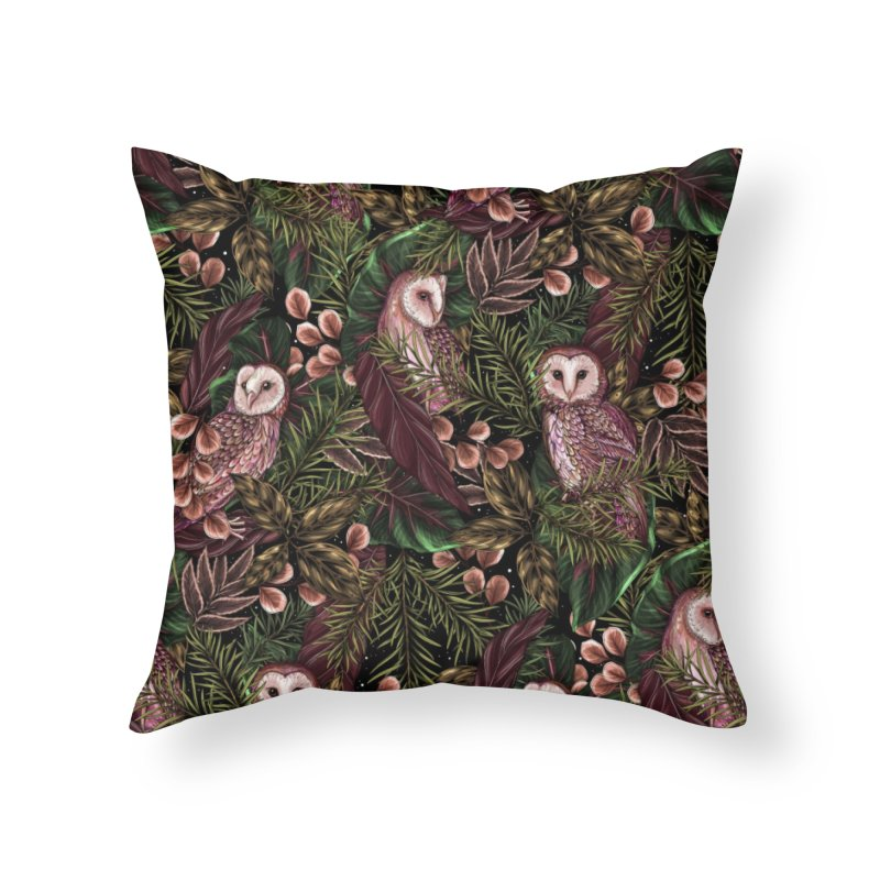 Owl Botanica Home Throw Pillow by littlepatterns by Maggie Enterrios