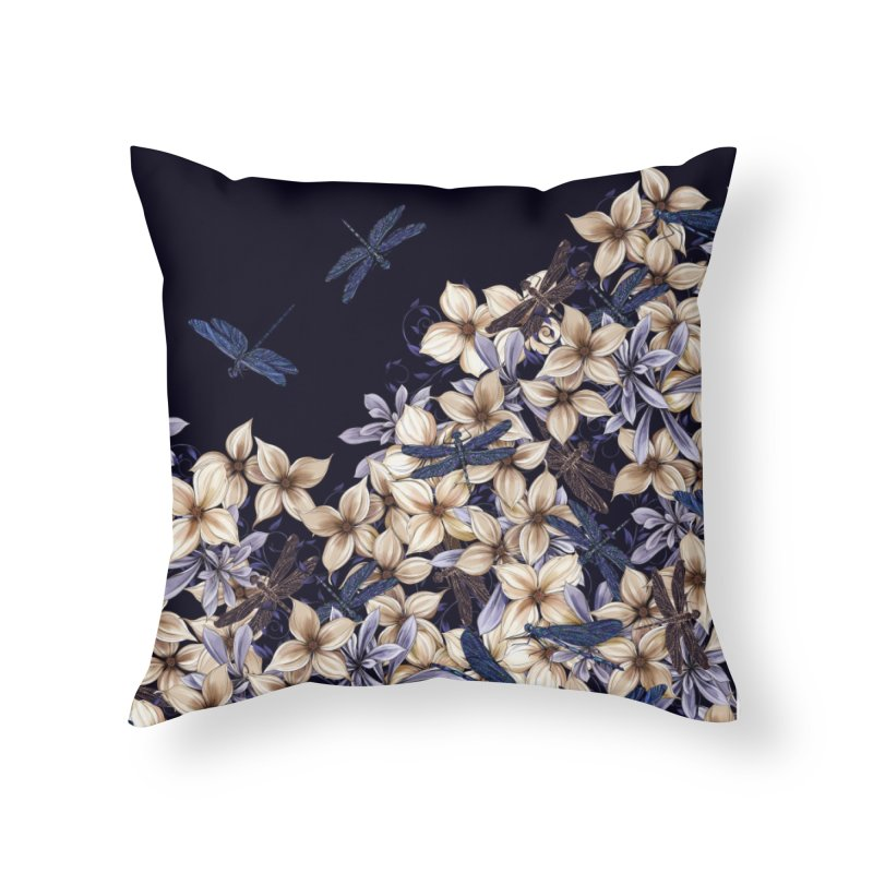 Dragonfly Dream Home Throw Pillow by littlepatterns by Maggie Enterrios